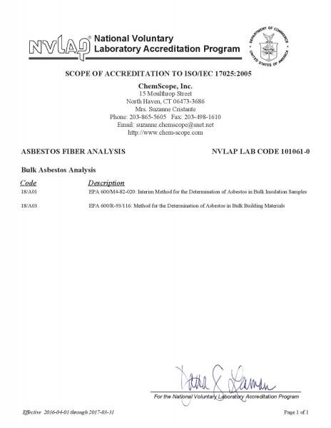 NVLAP Accreditation Scope